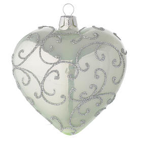 Heart Shaped Bauble in pale green blown glass with silver decoration 100mm s2