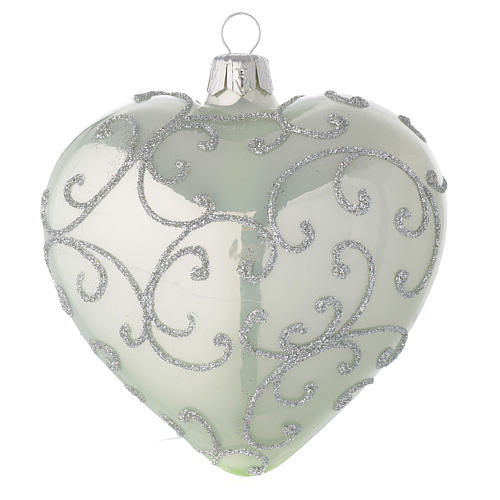 Heart Shaped Bauble in pale green blown glass with silver decoration 100mm 2