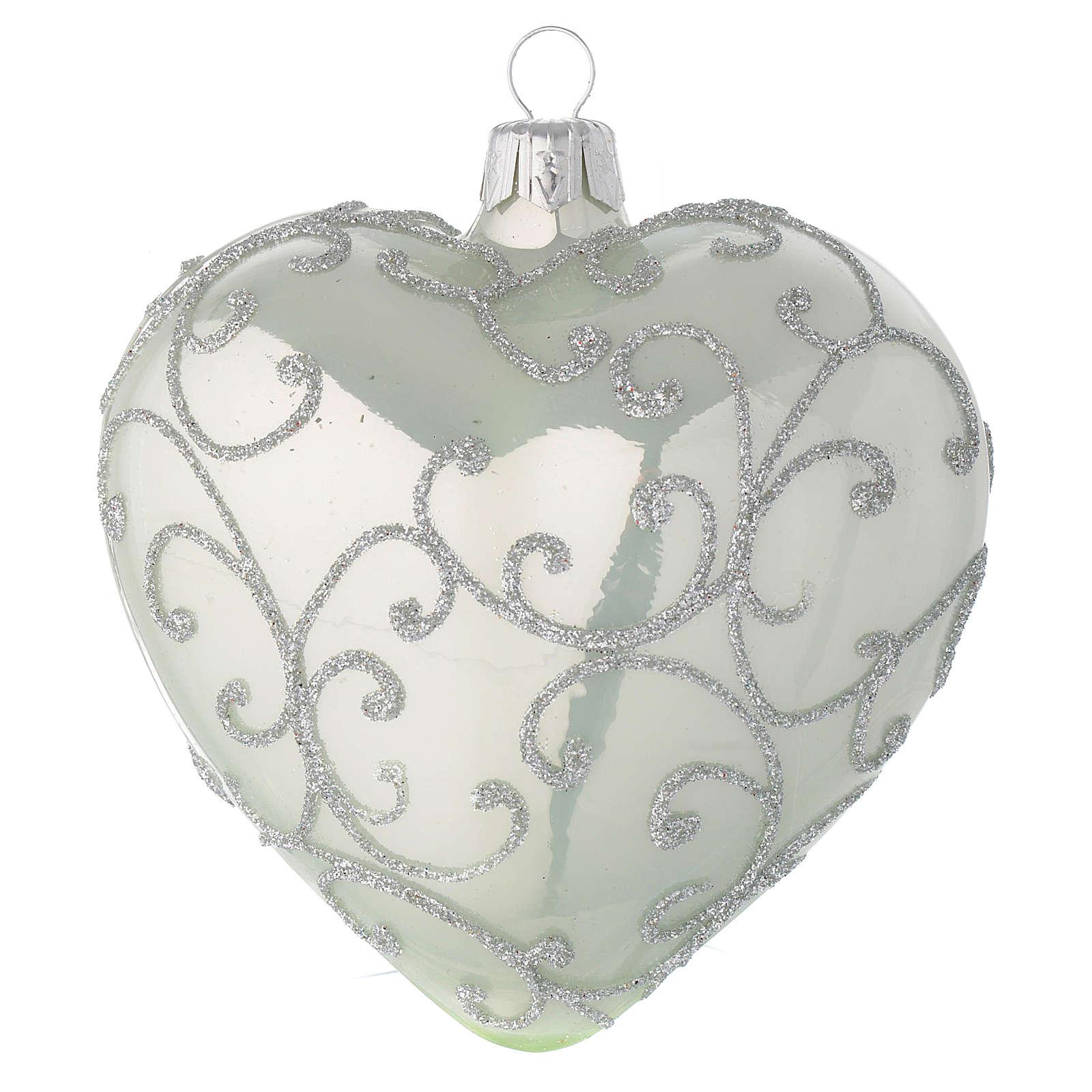 Bola de Navidad corazón de vidrio verde metalizado y plata 100 mm 4