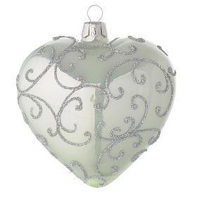 Bola de Navidad corazón de vidrio verde metalizado y plata 100 mm s2
