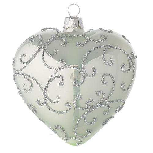 Bola de Navidad corazón de vidrio verde metalizado y plata 100 mm 2