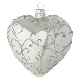 Coeur en verre vert métallisé et argent 100 mm s1