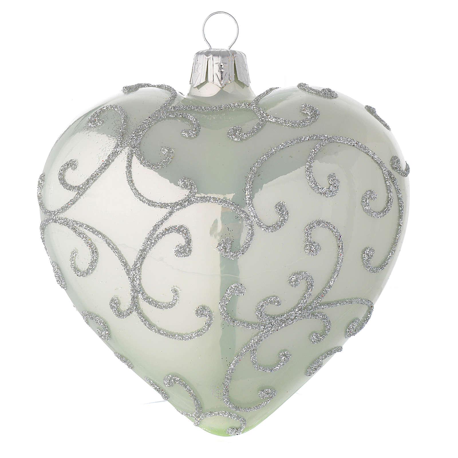 Bombka bożonarodzeniowa w kształcie serca szkło zielone i srebrne 100mm 4
