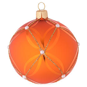Bauble in orange blown glass with pearl decoration 80mm s1