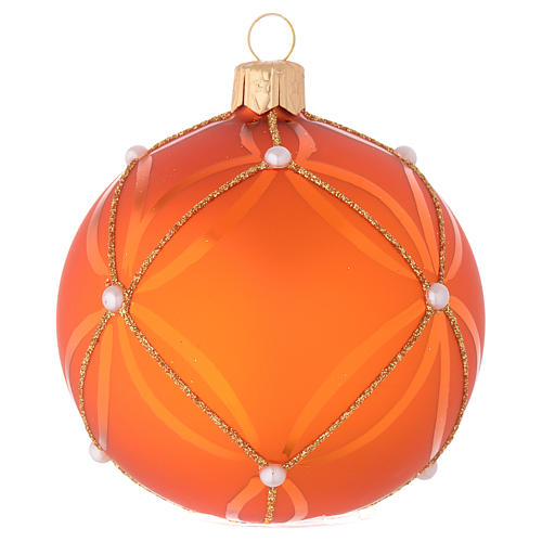 Bauble in orange blown glass with pearl decoration 80mm 2