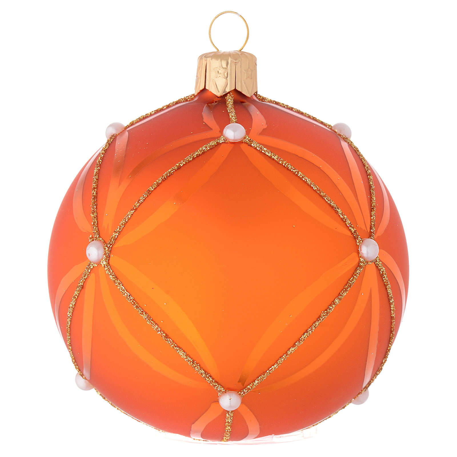 Bauble in orange blown glass with pearl decoration 80mm 4