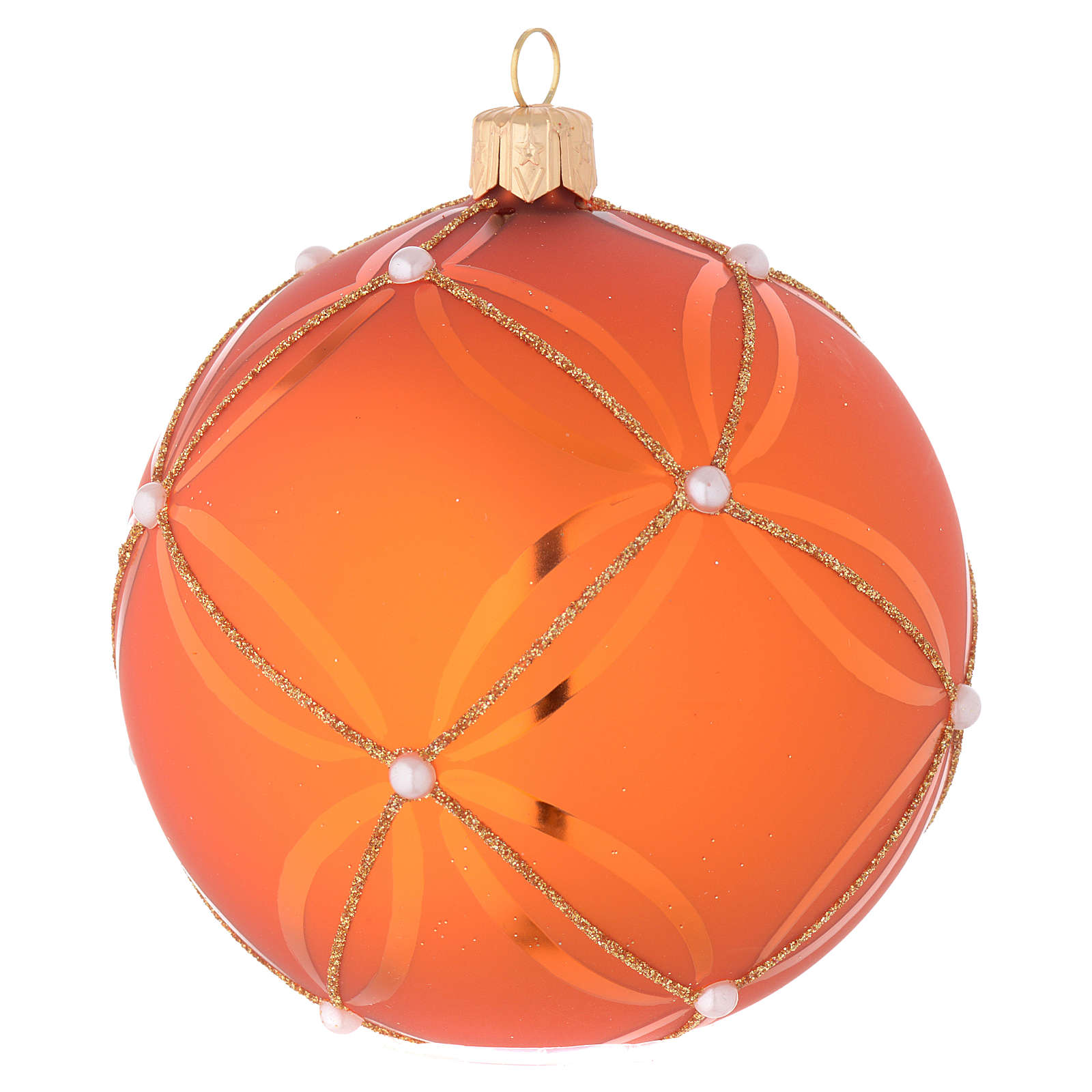 Bola de Navidad de vidrio soplado naranja decoraciones oro 100 mm 4
