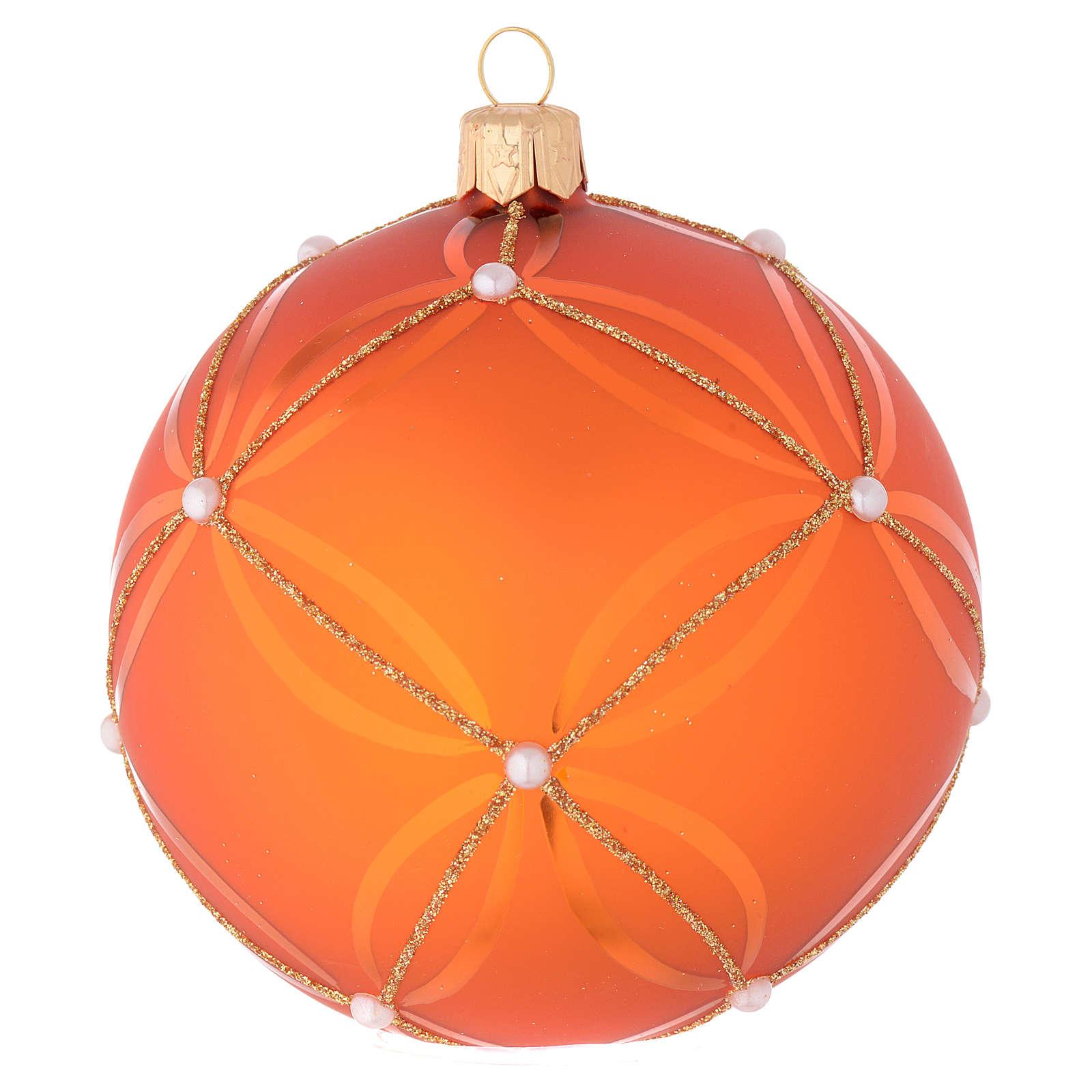 Bombka bożonarodzeniowa szkło dmuchane koloru pomarańczowego i złotego 100mm 4