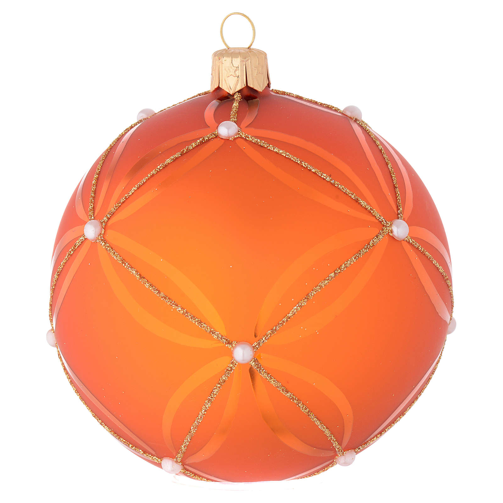 Bauble in orange blown glass with pearl decoration 100mm 4