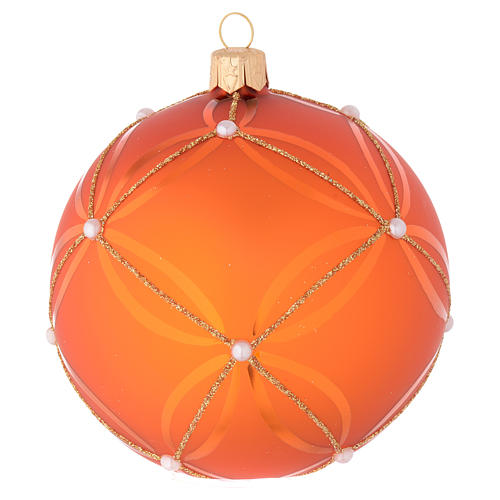 Bauble in orange blown glass with pearl decoration 100mm 1