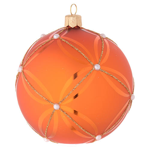 Bauble in orange blown glass with pearl decoration 100mm 2