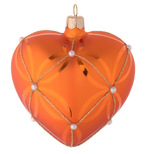 Heart Shaped Bauble in orange blown glass with pearl decoration 100mm 1