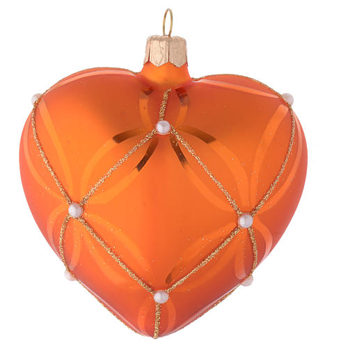 Heart Shaped Bauble in orange blown glass with pearl decoration 100mm 2
