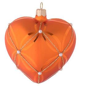 Bola de Navidad corazón de vidrio soplado naranja y decoraciones oro 100 mm s2