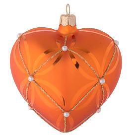 Cuore vetro soffiato arancione e oro 100 mm s1