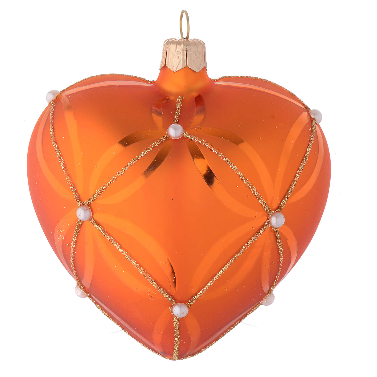 Heart Shaped Bauble in orange blown glass with pearl decoration 100mm 4