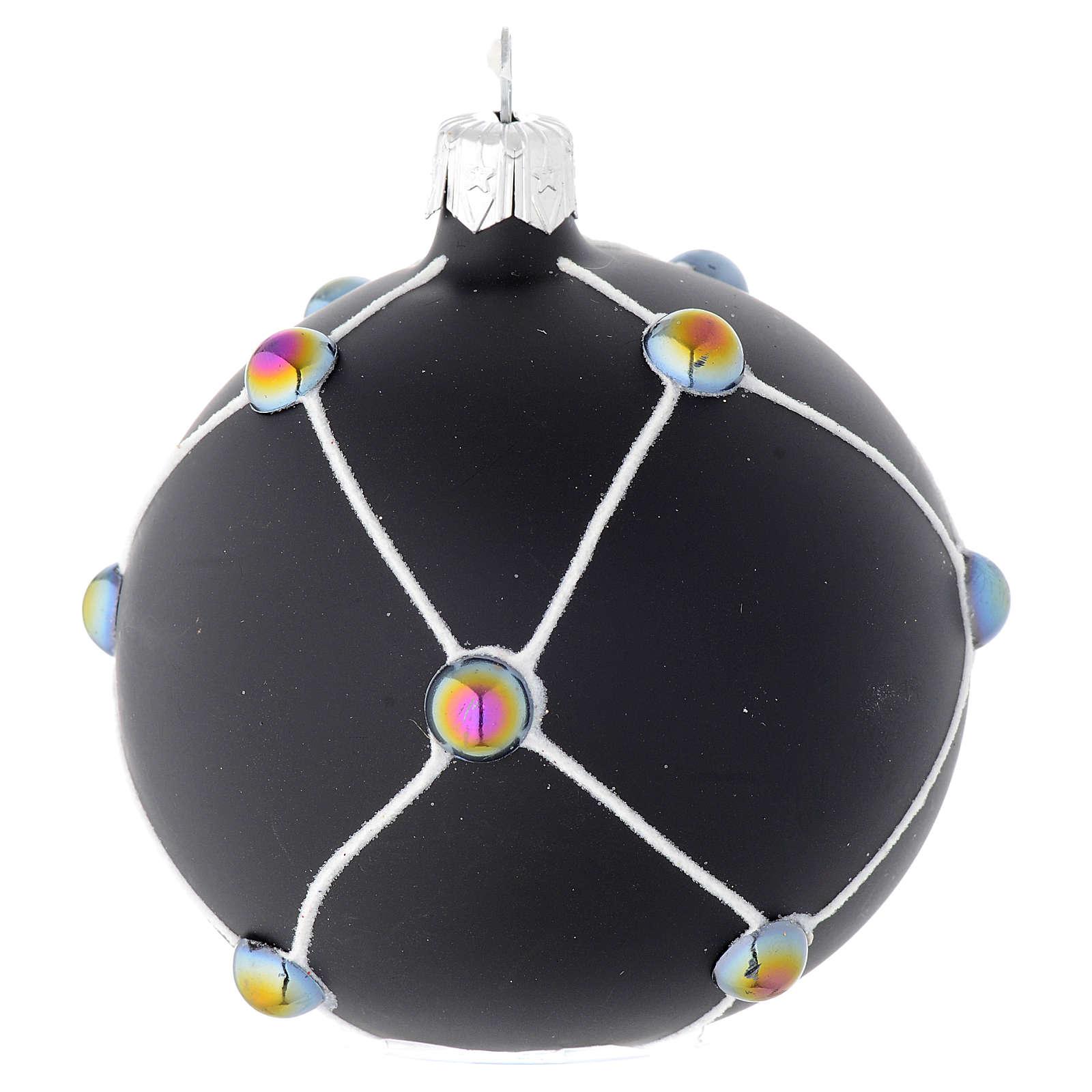 Bola de Navidad de vidrio soplado negro satinado y piedras 80 mm 4