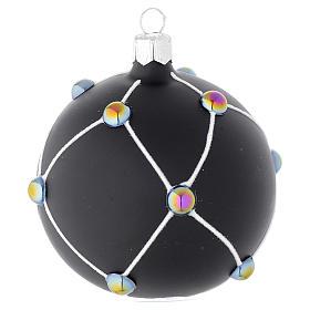Bola de Navidad de vidrio soplado negro satinado y piedras 80 mm s1
