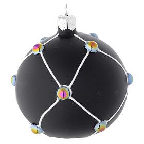 Bola de Navidad de vidrio soplado negro satinado y piedras 80 mm s2