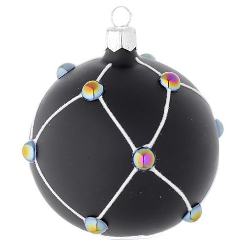 Bola de Navidad de vidrio soplado negro satinado y piedras 80 mm 1