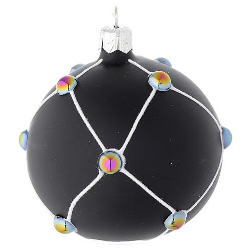 Bola de Navidad de vidrio soplado negro satinado y piedras 80 mm 2