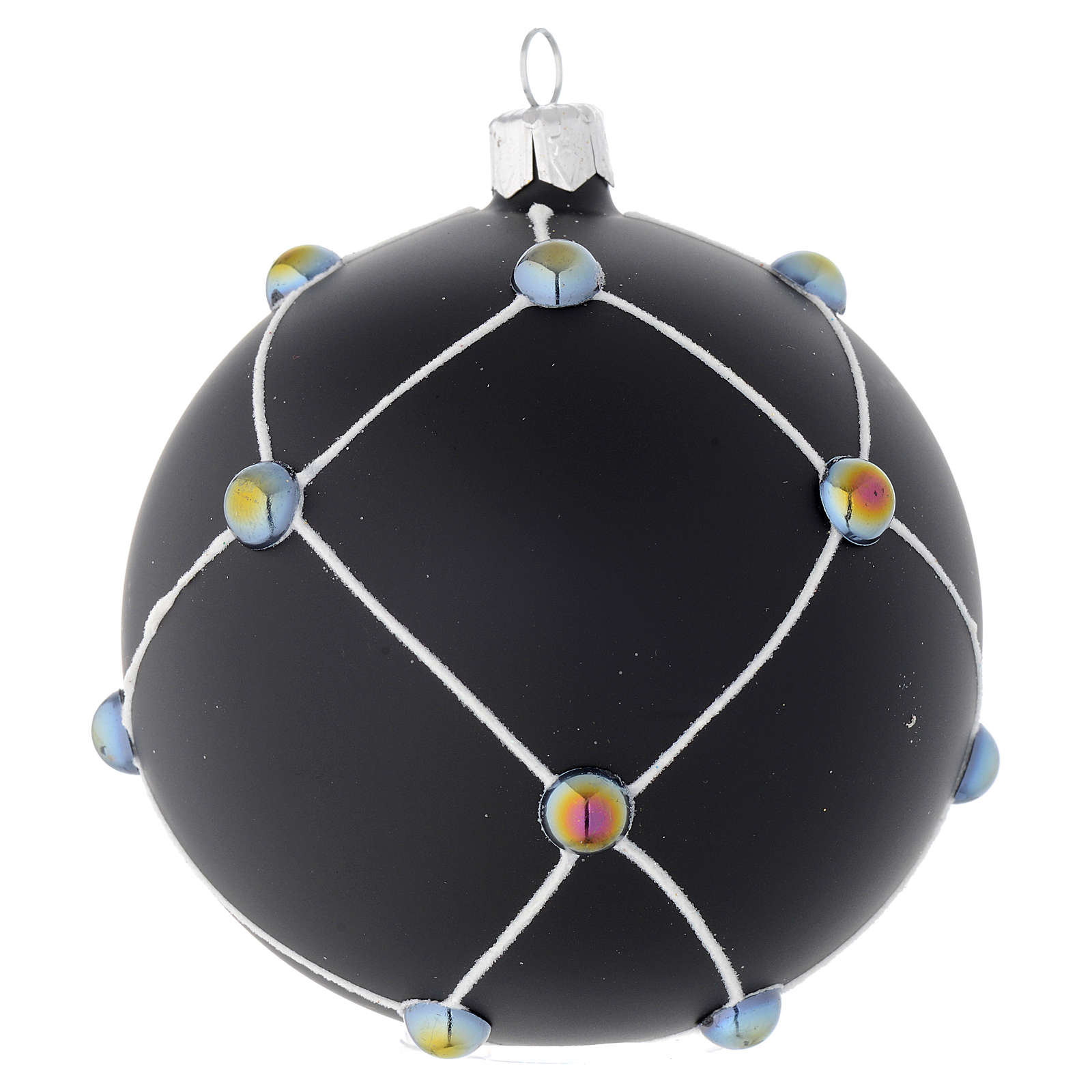 Bauble in satin black blown glass with stones 100mm 4