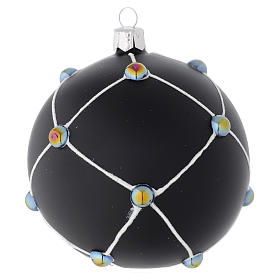 Bauble in satin black blown glass with stones 100mm s1