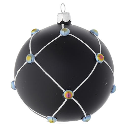 Bauble in satin black blown glass with stones 100mm 2