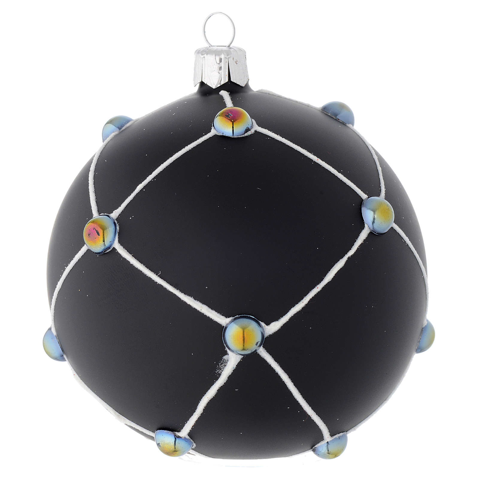 Bola de Navidad de vidrio negro satinado con piedras 100 mm 4