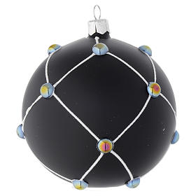 Bola de Navidad de vidrio negro satinado con piedras 100 mm s2