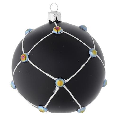 Bola de Navidad de vidrio negro satinado con piedras 100 mm 1