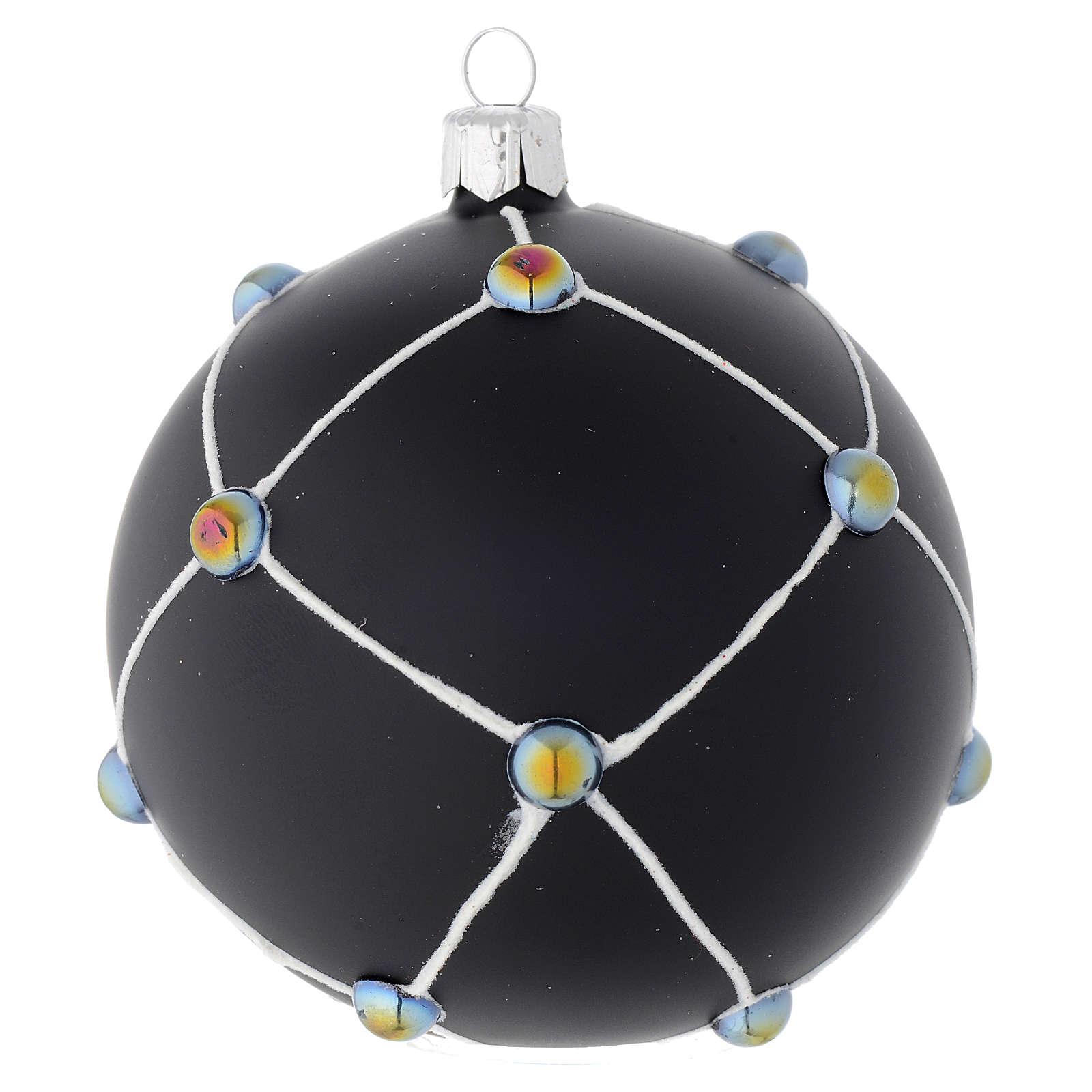 Boule en verre noir satiné et pierres 100 mm 4