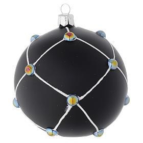 Boule en verre noir satiné et pierres 100 mm s1
