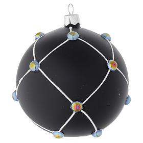 Boule en verre noir satiné et pierres 100 mm s2