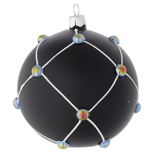 Boule en verre noir satiné et pierres 100 mm 2