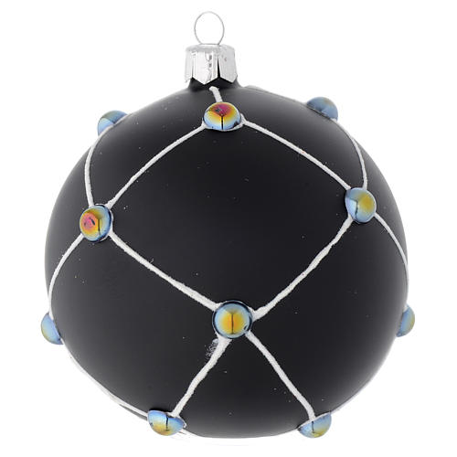 Bauble in satin black blown glass with stones 100mm 1
