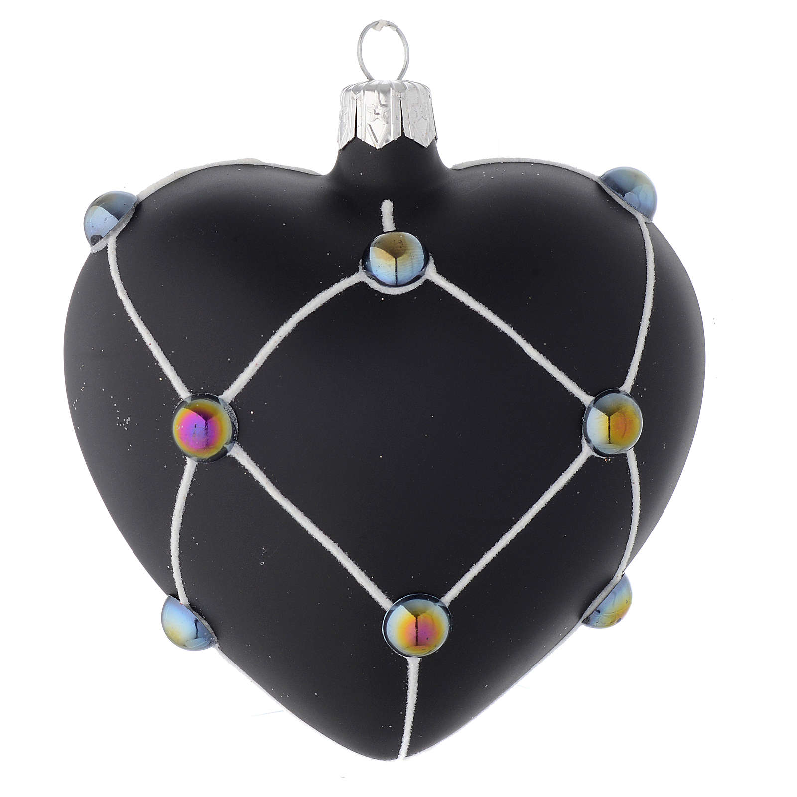 Heart Shaped Bauble in satin black blown glass with stones 100mm 4