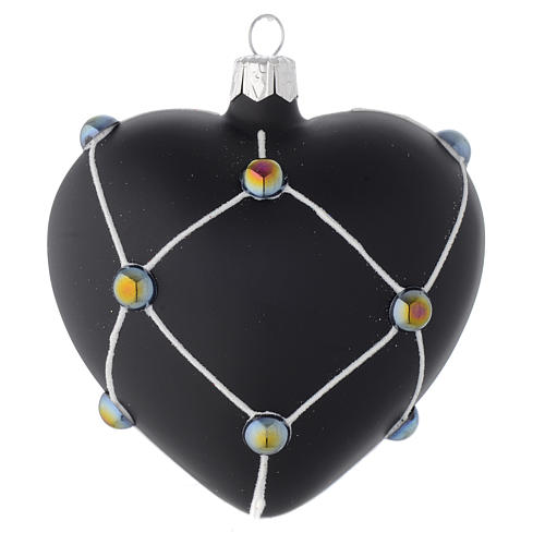 Heart Shaped Bauble in satin black blown glass with stones 100mm 1