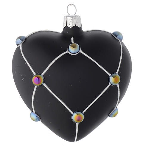 Heart Shaped Bauble in satin black blown glass with stones 100mm 2