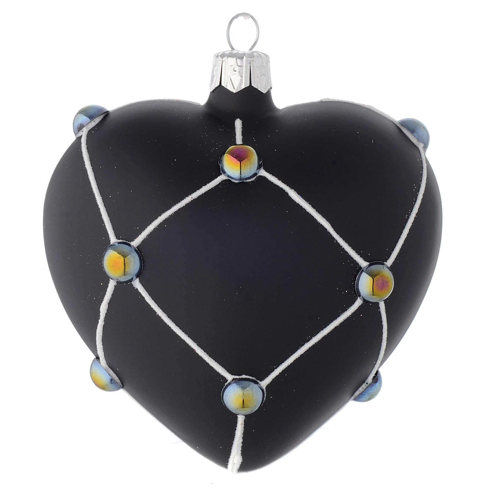 Bola de Navidad corazón de vidrio negro satinado y piedras 100 mm 4