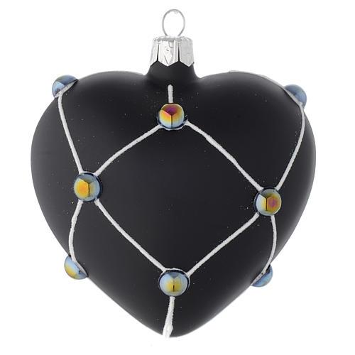 Bola de Navidad corazón de vidrio negro satinado y piedras 100 mm 1