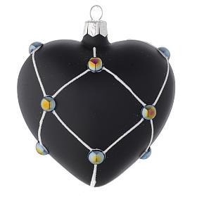 Coeur verre noir satiné et pierres 100 mm s1