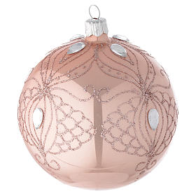 Bauble in pink blown glass with tree decoration 100mm s2
