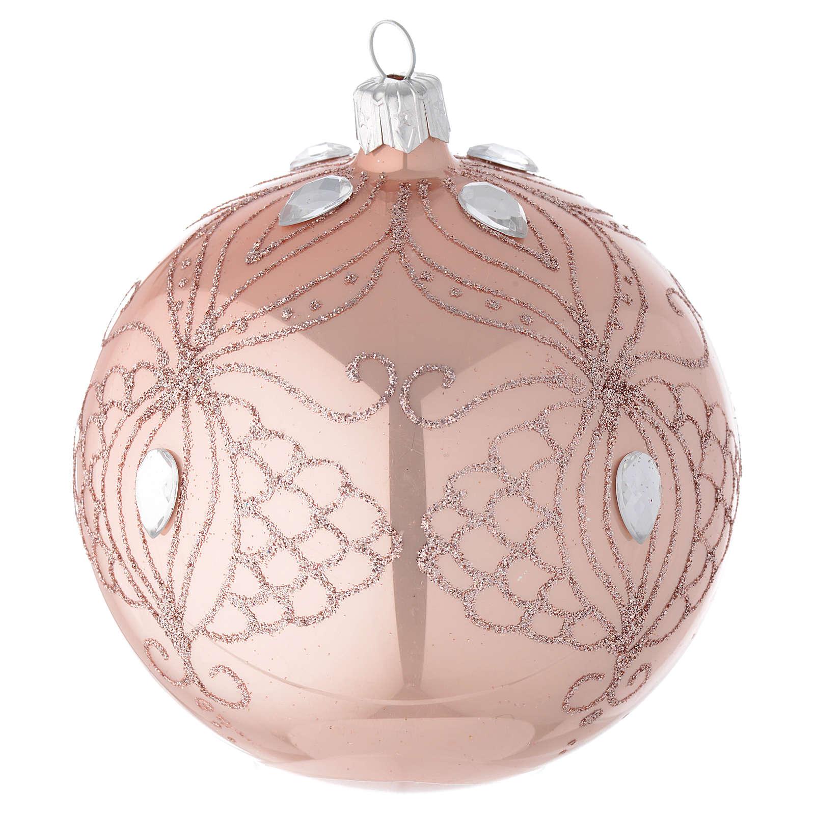 Bola árbol de Navidad de vidrio soplado rosa 100 mm 4