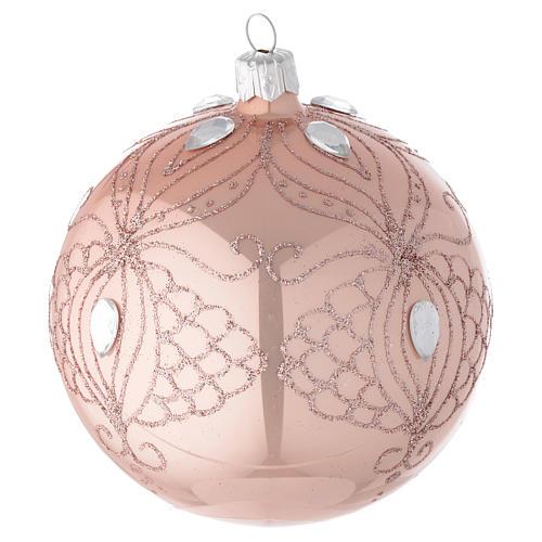 Décoration sapin Noël boule verre rose 100 mm 2