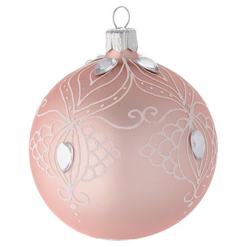 Decoro Albero palla vetro rosa decoro bianco 80 mm 2