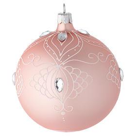 Bola árbol de Navidad de vidrio soplado rosa con decoraciones blancas 100 mm s1