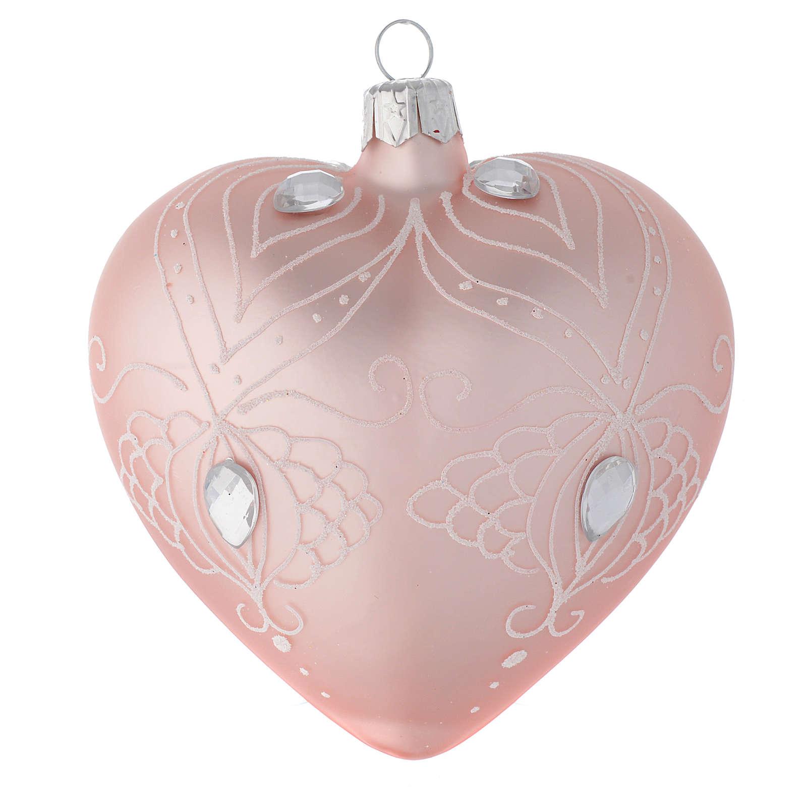 Palla Cuore vetro rosa decoro bianco 100 mm 4