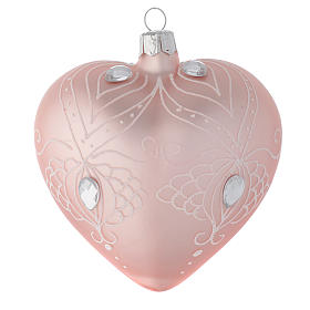 Heart Shaped Bauble in pink blown glass with white tree decoration 100mm s1