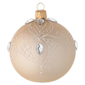 Christmas balls: Bauble in gold blown glass with white tree decoration 80mm